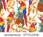 summer jungle pattern with... | Shutterstock .eps vector #577111918