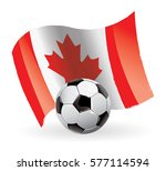 canada flag waving football | Shutterstock .eps vector #577114594