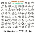 vector doodle summer trip icons ... | Shutterstock .eps vector #577117144