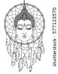 buddha face over dreamcatcher... | Shutterstock .eps vector #577123570