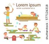 happy childhood concept. set of ...   Shutterstock .eps vector #577126318