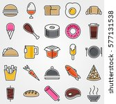 colorful tasty food contour... | Shutterstock .eps vector #577131538