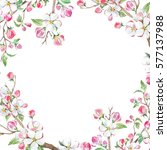 watercolor floral frame... | Shutterstock . vector #577137988