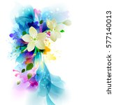Tender background with white abstract flowers on the artistic blobs