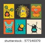 set of six retro postage s... | Shutterstock .eps vector #577140370