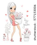 cute girl with flowers   Shutterstock .eps vector #577153006