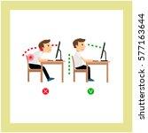 correct posture sitting before...   Shutterstock .eps vector #577163644