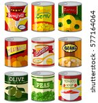 different types of food in can... | Shutterstock .eps vector #577164064