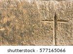 vintage cross carved in old... | Shutterstock . vector #577165066