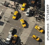 new york city and yellow cabs.... | Shutterstock . vector #577168309