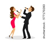 couple  man and woman singing... | Shutterstock .eps vector #577170283
