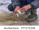 winter fishing  a fisherman