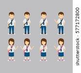 junior high school students... | Shutterstock .eps vector #577172800