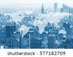 double exposure global world... | Shutterstock . vector #577182709