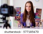 beauty fashion blogger... | Shutterstock . vector #577185670