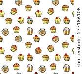 cupcake seamless pattern vector | Shutterstock .eps vector #577186108