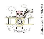 panda pilot flying plane   kid... | Shutterstock .eps vector #577187944