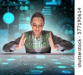 businesswoman in digital world...   Shutterstock . vector #577190614