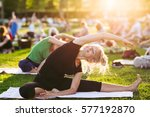 yoga woman on green grass. | Shutterstock . vector #577192870