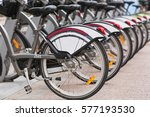 Row Of Parked Vintage Bicycles...