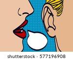 woman lips whispering in mans... | Shutterstock .eps vector #577196908