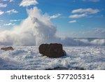 big huge shorebreak ocean...   Shutterstock . vector #577205314