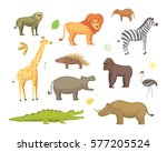 african animals cartoon vector... | Shutterstock .eps vector #577205524