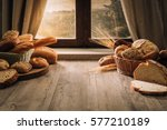 fresh bread on the kitchen... | Shutterstock . vector #577210189