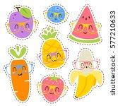 vector cartoon fruits in... | Shutterstock .eps vector #577210633