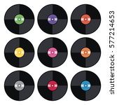 vector set of music retro vinyl ... | Shutterstock .eps vector #577214653