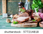 roasted pork with rosemary ... | Shutterstock . vector #577214818
