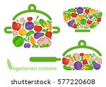 vegetables in the form of salad ... | Shutterstock .eps vector #577220608