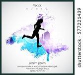 silhouette of marathon runner | Shutterstock .eps vector #577221439