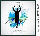 silhouette of marathon runner | Shutterstock .eps vector #577221463