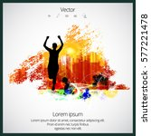 silhouette of marathon runner | Shutterstock .eps vector #577221478