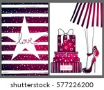 cute set with fashion cards... | Shutterstock .eps vector #577226200