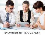 business people having meeting... | Shutterstock . vector #577237654
