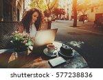 attractive beautiful white... | Shutterstock . vector #577238836