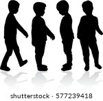 vector silhouette of children... | Shutterstock .eps vector #577239418