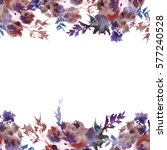 hand painted watercolor floral... | Shutterstock . vector #577240528