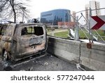 Small photo of Car of the RTL media burned during the riots in Bobigny in Seine Saint Denis, after a demonstration of support to the young Theo, victim of police violence. FRANCE - 11 February 2017.