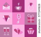 set of icons for valentines day ... | Shutterstock .eps vector #577249828