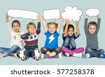 children smiling happiness... | Shutterstock . vector #577258378