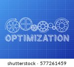 optimization text with gear... | Shutterstock .eps vector #577261459