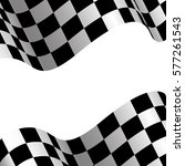 checkered flag and white blank... | Shutterstock .eps vector #577261543