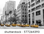 Small photo of New York City Taxi Streets USA Big Apple Skyline american flag black white yellow