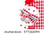 festive table setting for... | Shutterstock . vector #577266094