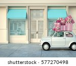 car with many presents on roof. ... | Shutterstock . vector #577270498