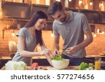 young beautiful couple in... | Shutterstock . vector #577274656