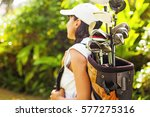 beautiful young woman as a golf ... | Shutterstock . vector #577275316